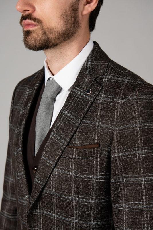 Мужской коричневый пиджак в клетку. Арт.:2-1424-2