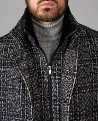 Мужское пальто в клетку на еврозиму. Арт.: 1-1403-2