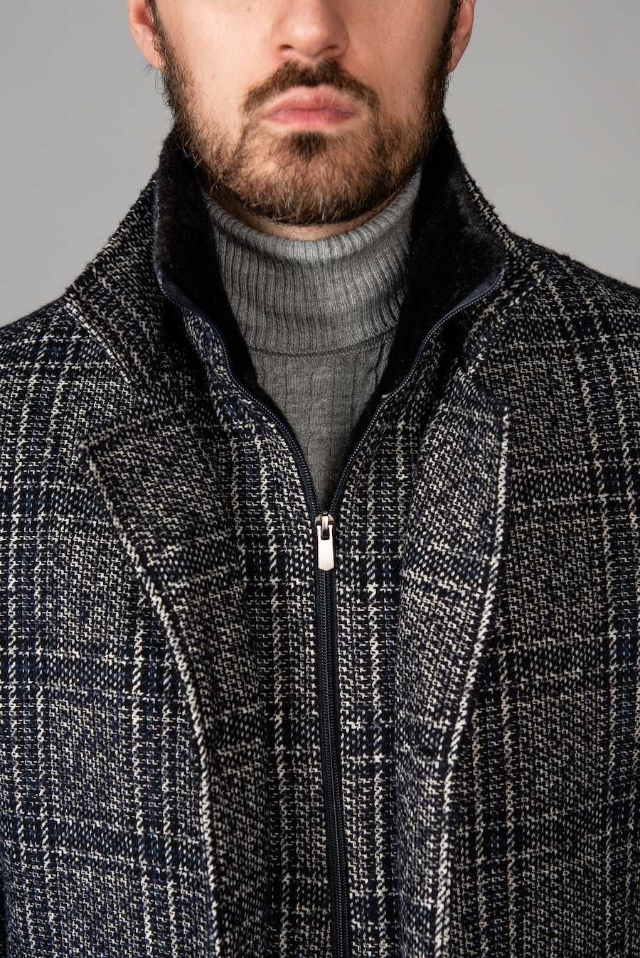 Мужское пальто в клетку на еврозиму. Арт.:1-1403-2