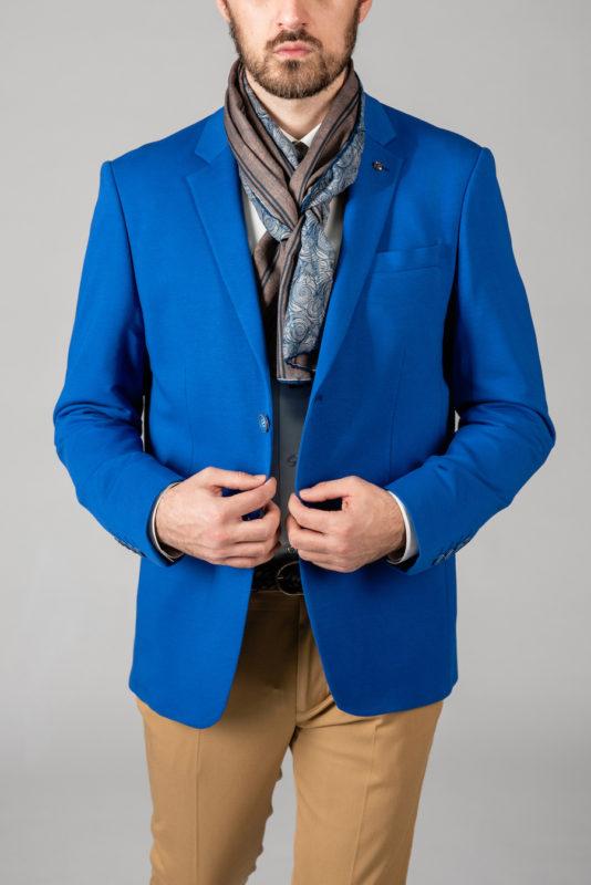 Кэжуал пиджак ярко-синего цвета. Арт.:2-1411-2
