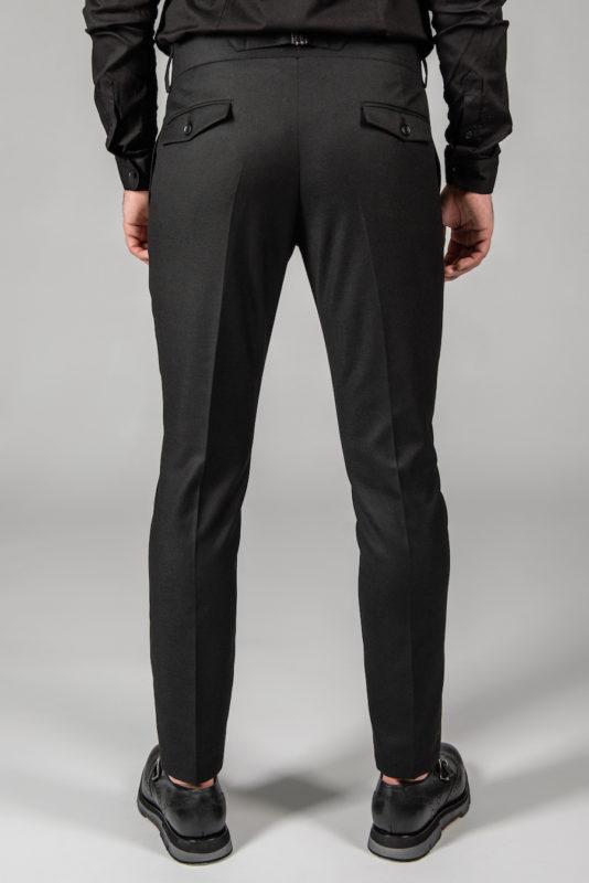 Укороченные брюки с защипами черного цвета. Арт.:6-1439-3