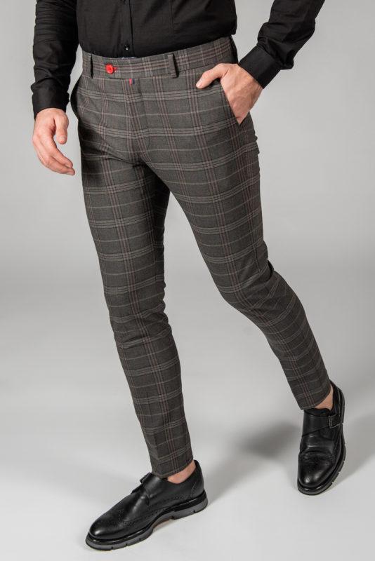 Зауженные брюки в бордовую клетку. Арт.:6-1440-3