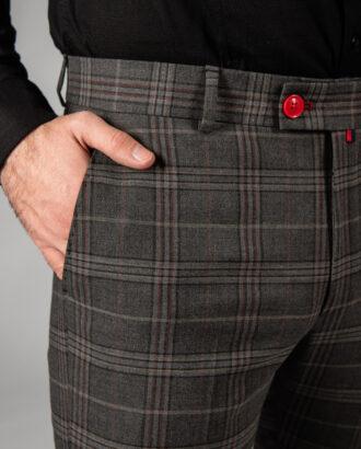 Зауженные брюки в бордовые клетку. Арт.:6-1440-3