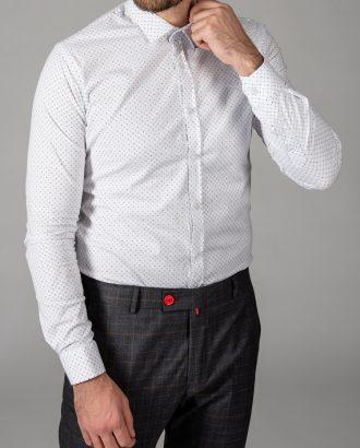 Белая мужская рубашка с принтом. Арт.:5-1448-8