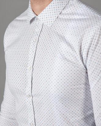 Белая мужская рубашка с принтом. Арт.: 5-1448-8