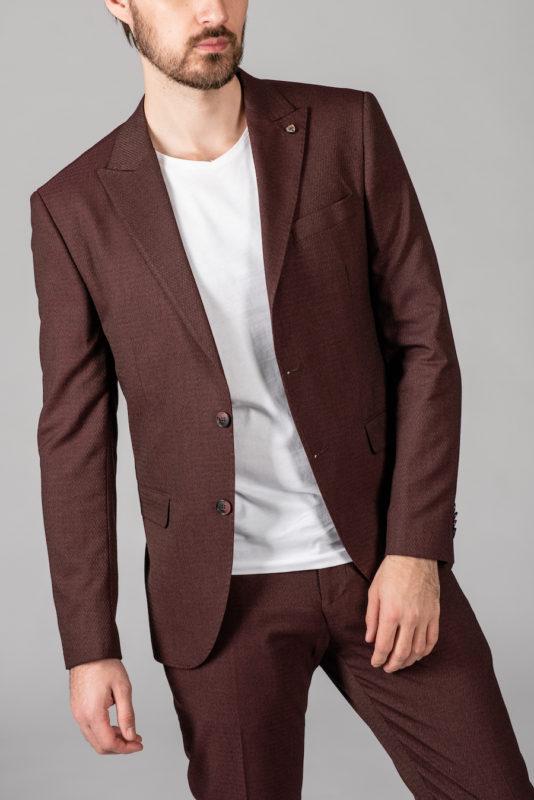 Стильный костюм-двойка бордового цвета. Арт.: 4-1414-8