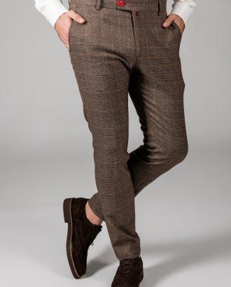 Клетчатые брюки коричневого цвета. Арт.:6-1441-3