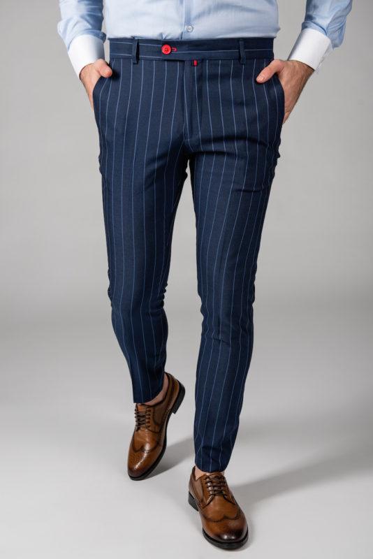 Темно-синие брюки в полоску. Арт.:6-1443-3