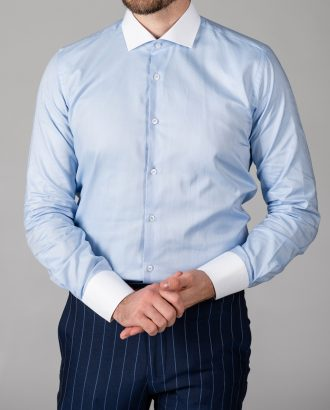 Мужская рубашка slim fit голубого цвета. Арт.:5-1449-3