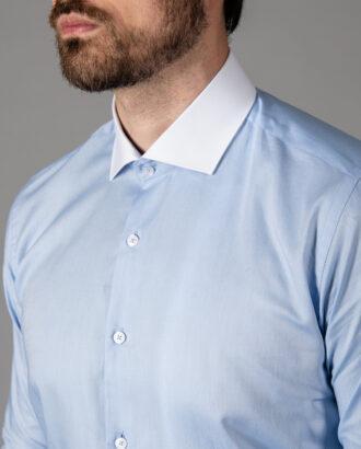 Мужская рубашка slim fit голубого цвета. Арт.: 5-1449-3