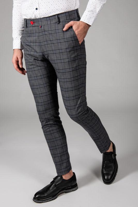 Мужские серые брюки в клетку. Арт.:6-1444-3