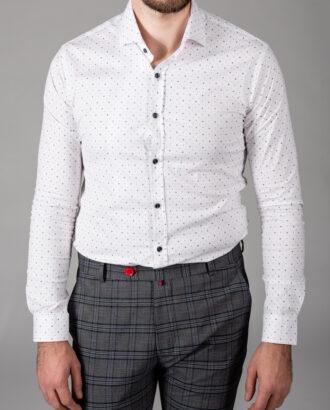 Принтованная белая рубашка super slim. Арт.: 5-1450-8