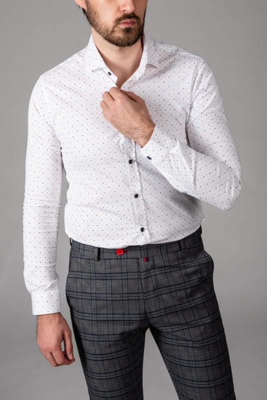 Принтованная белая рубашка super slim. Арт.:5-1450-8