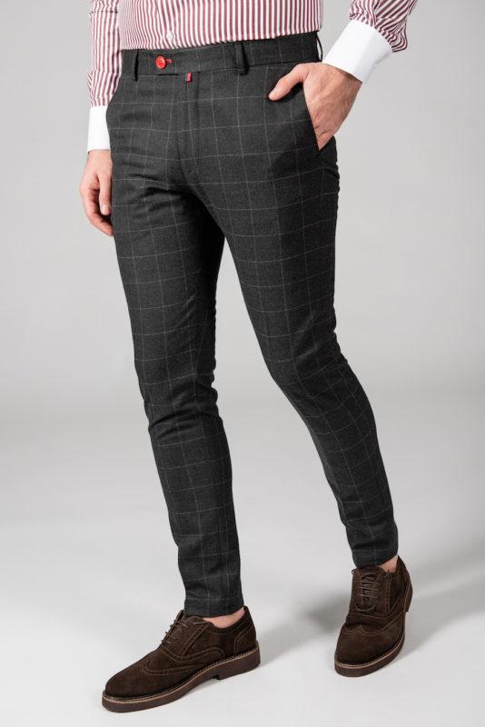 Серые мужские брюки в клетку. Арт.:6-1445-3