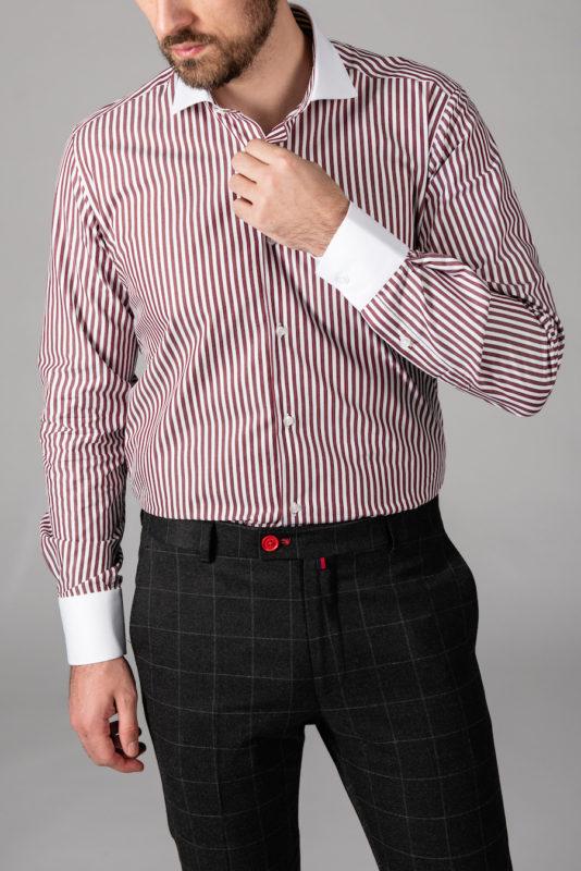 Мужская рубашка в бордовую полоску. Арт.:5-1451-3