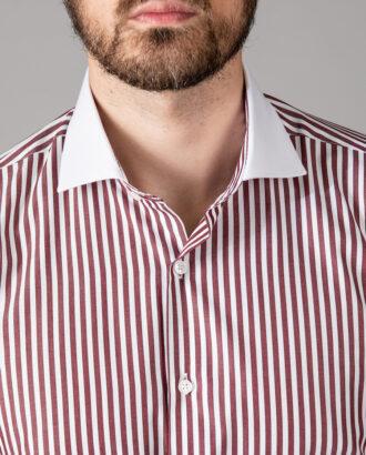 Мужская рубашка в бордовую полоску. Арт.: 5-1451-3