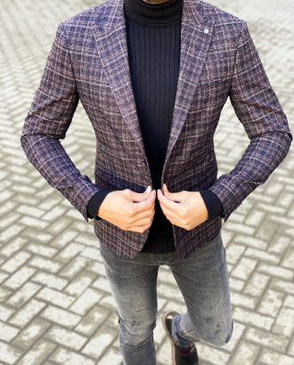 Стильный мужской пиджак в клетку. Арт.:2-1454-8
