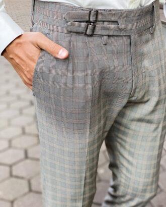 Стильные серые брюки в клетку.  Арт.: 6-1464-3