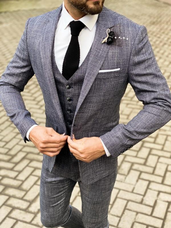 Серый мужской костюм-тройка в стиле смарт-кэжуал. Арт.: 4-1470-3
