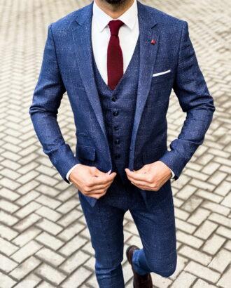 Мужской синий костюм-тройка приталенного кроя. Арт.: 4-1471-3
