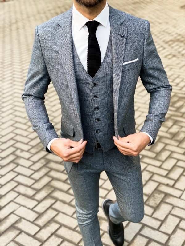 Серый мужской костюм-тройка в английскую клетку. Арт.: 4-1472-3