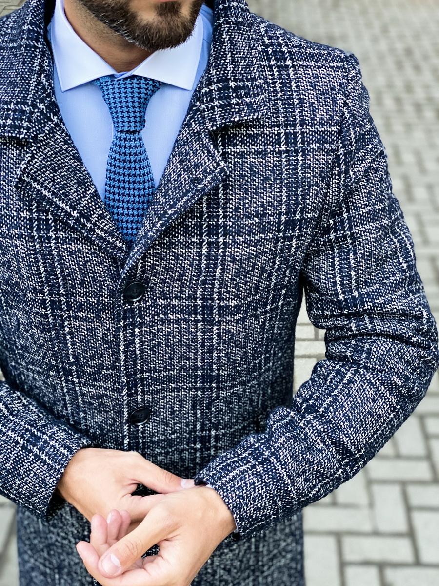 Синее пальто в крупную клетку. Арт.:1-1452-2