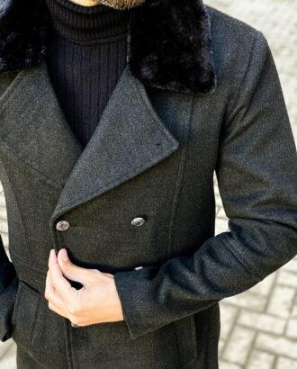 Черное двубортное пальто с мехом. Арт.: 1-1453-1