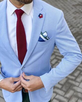 Летний пиджак голубого цвета. Арт.: 2-1456-2