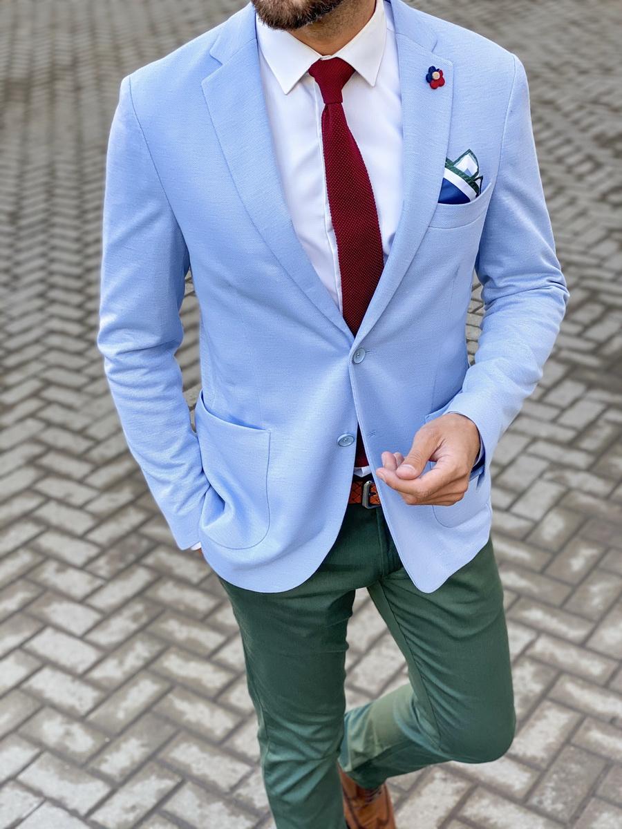 Летний пиджак голубого цвета. Арт.:2-1456-2
