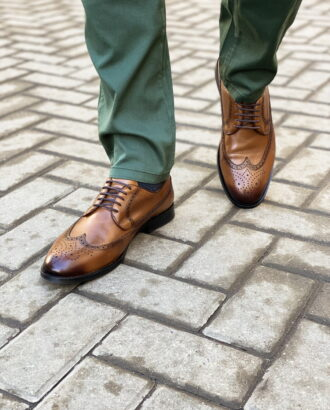 Стильные мужские броги коричневого цвета. Арт.:14-1473