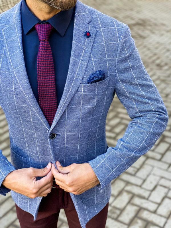 Клетчатый голубой пиджак. Арт.:2-1458-2