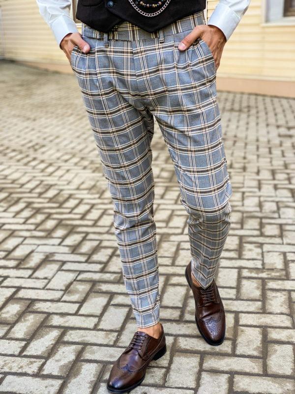 Клетчатые брюки серого цвета. Арт.:6-1465-3