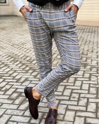 Клетчатые брюки серого цвета. Арт.: 6-1465-3