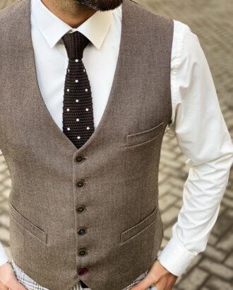 Классический мужской жилет коричневого цвета. Арт.:3-1461-10