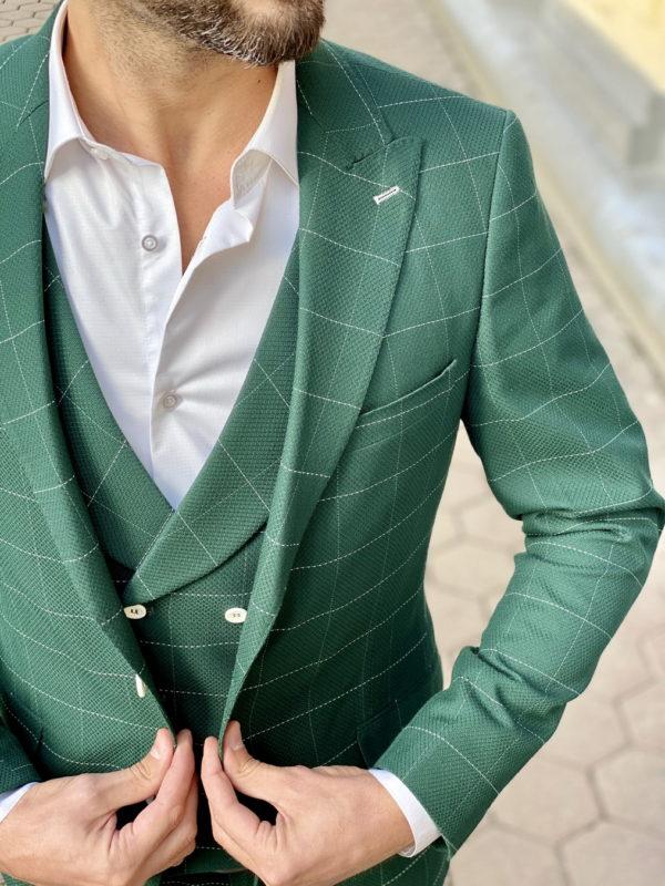 Зеленый мужской костюм-тройка в клетку. Арт.:4-1511-5