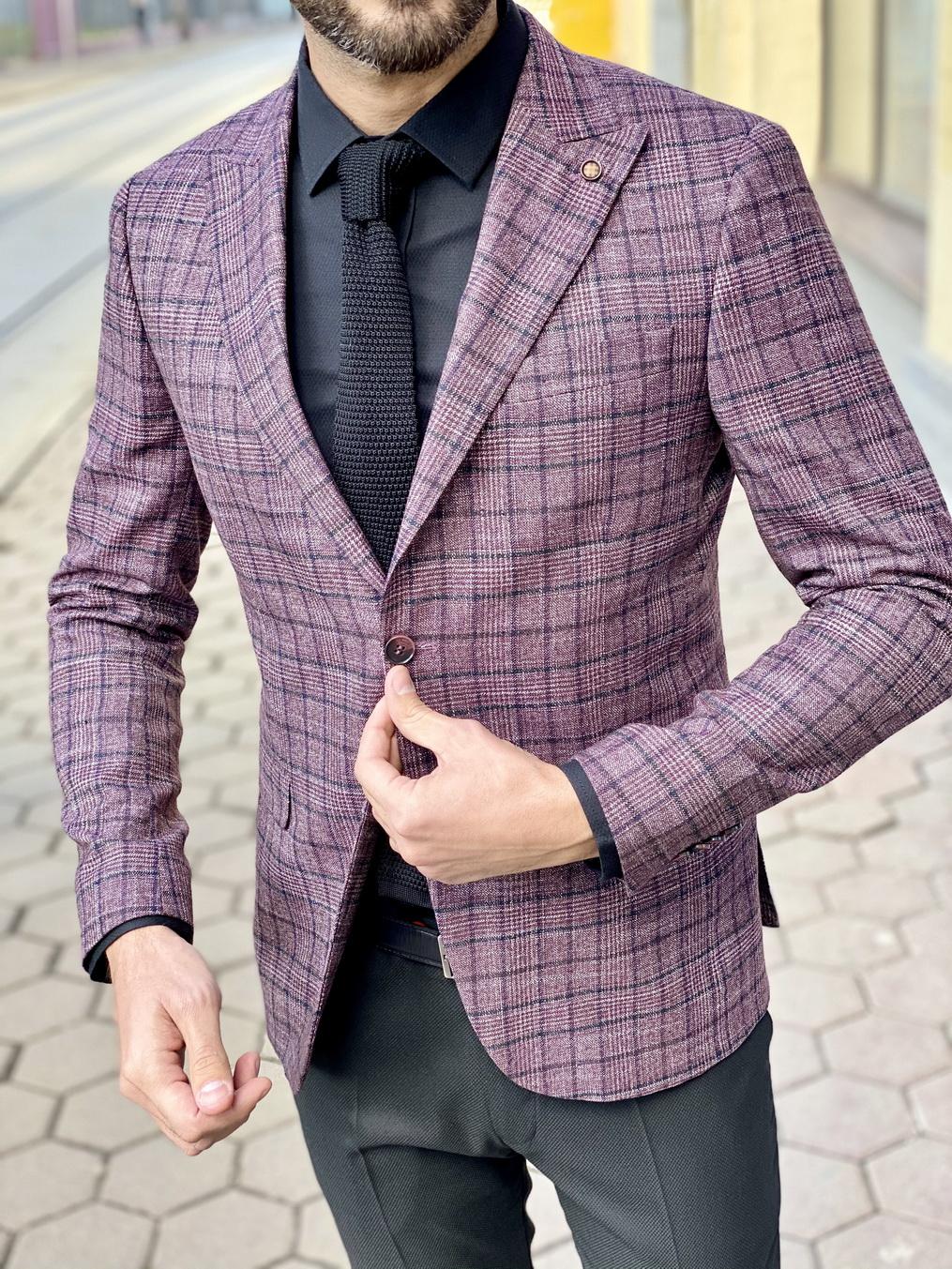 Мужской фиолетовый приталенный пиджак. Арт.:2-1512-8