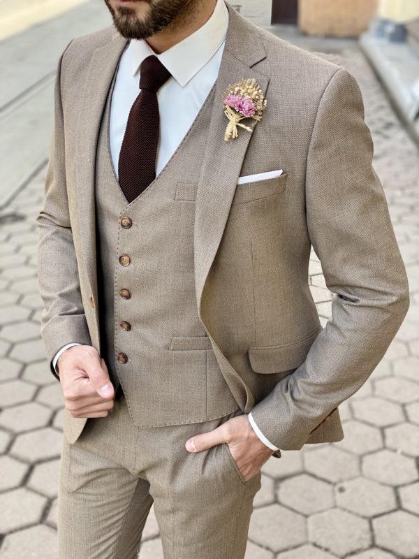 Бежевый мужской костюм-тройка. Арт.:4-1503-3