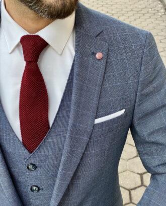 Молодежный костюм-тройка синего цвета. Арт.:4-1504-3