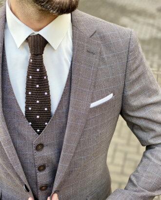 Клетчатый мужской костюм серого цвета. Арт.:4-1501-3