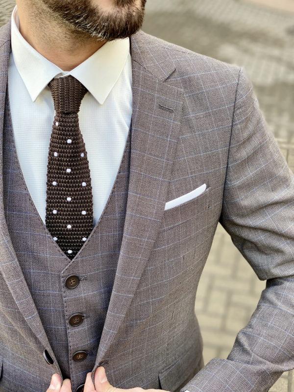 Клетчатый мужской костюм коричневого цвета. Арт.:4-1501-3