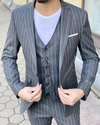 Мужской костюм-тройка в полоску. Арт:4-1509-3