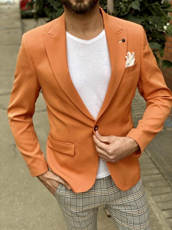 Оранжевый мужской пиджак. Арт.:2-1527-5