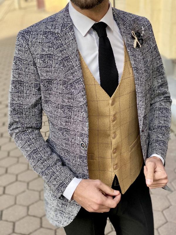 Клетчатый пиджак в стиле кэжуал. Арт.:2-1514-5