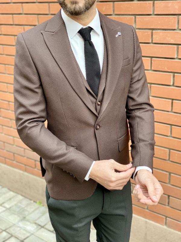 Коричневый мужской костюм-двойка без брюк. Арт:4-1528-5