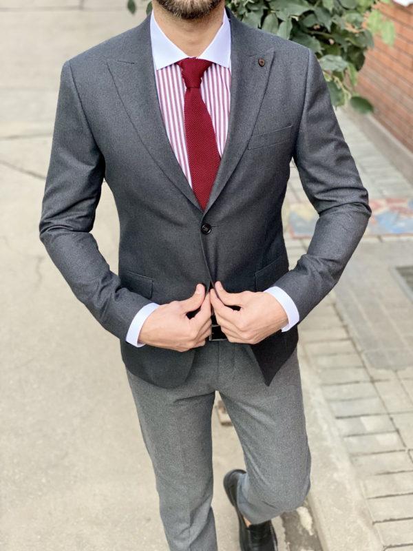 Стильный серый пиджак. Арт.:2-1529-8