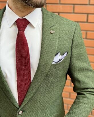 Приталенный мужской пиджак зеленого цвета. Арт.:2-1515-5