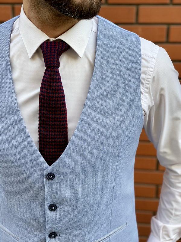 Мужской жилет голубого цвета. Арт.:3-1518-3