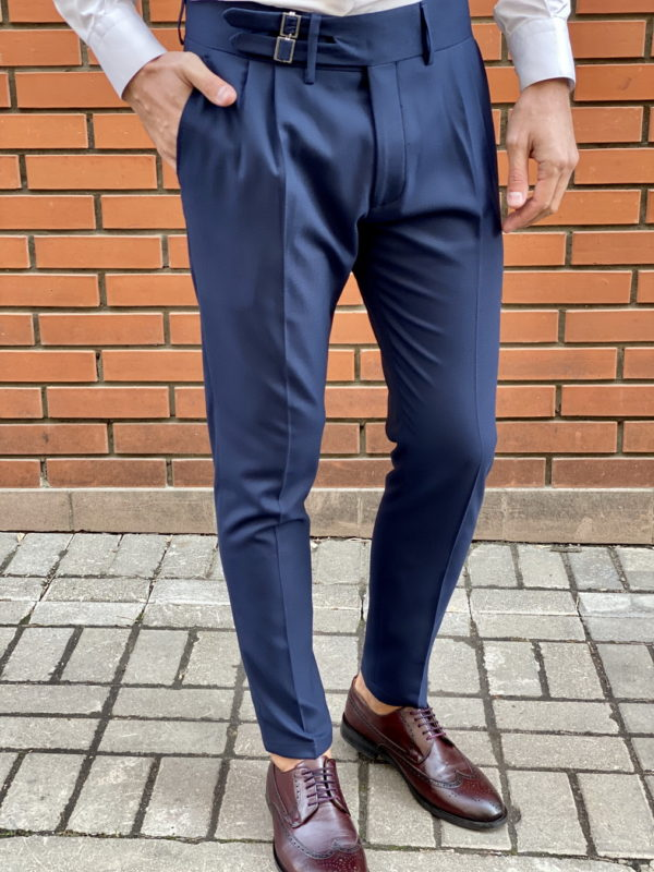 Синие брюки с широким поясом. Арт.:6-1519-3
