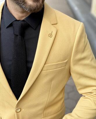 Стильный мужской пиджак желтого цвета. Арт.: 2-1513-2