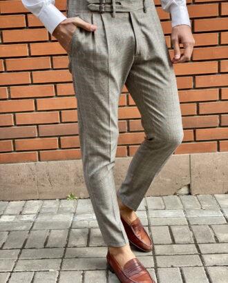 Серые мужские брюки в клетку. Арт.:6-1522-3